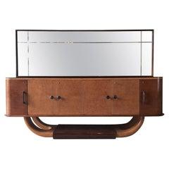 Italian Mid-Century Sideboard with Mirror Attributed to Osvaldo Borsani, 1940s