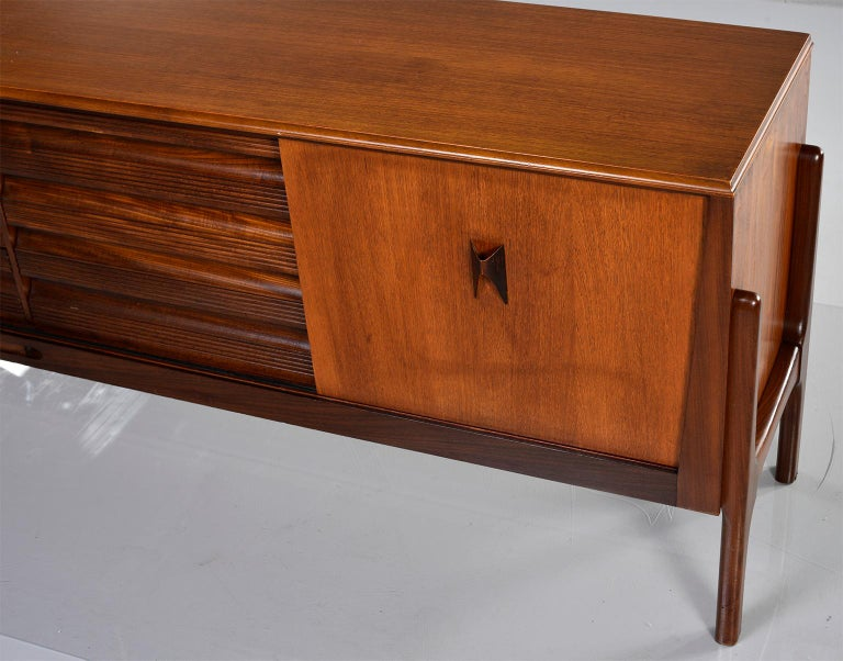 Italian Midcentury Sideboard With Multi Woods and Sliding Doors For Sale 6