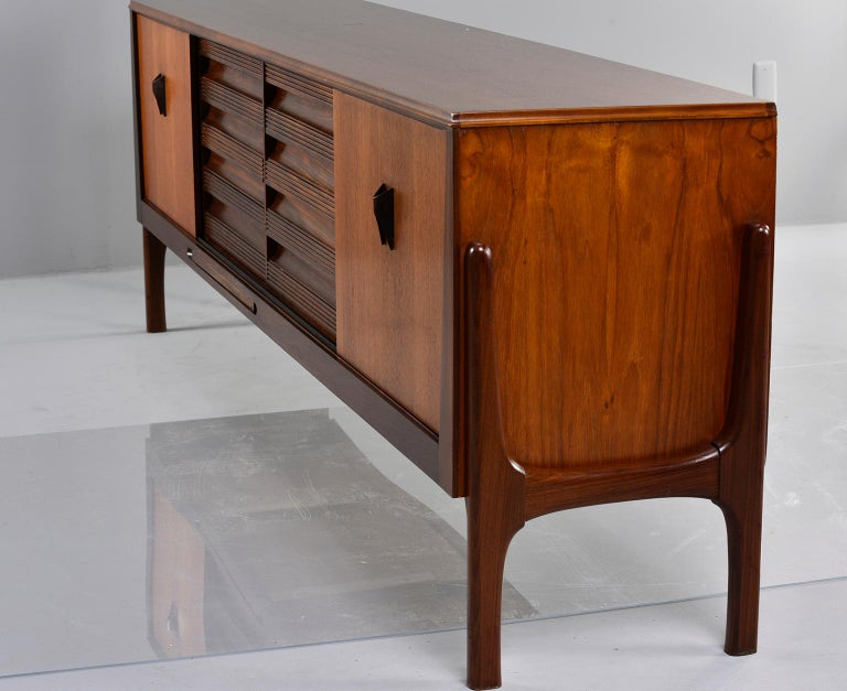 Italian Midcentury Sideboard With Multi Woods and Sliding Doors For Sale 7