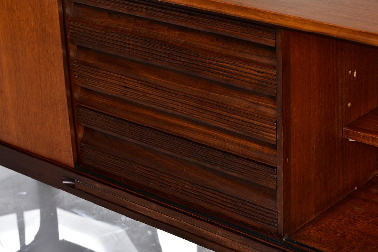 Italian Midcentury Sideboard With Multi Woods and Sliding Doors For Sale 8