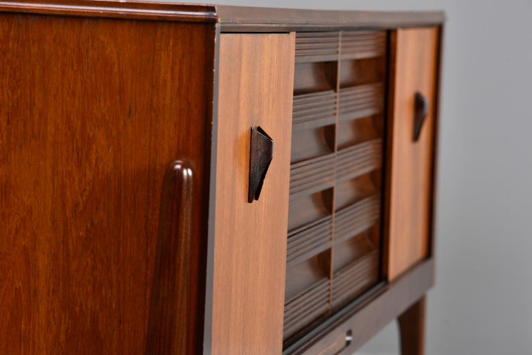 Italian Midcentury Sideboard With Multi Woods and Sliding Doors For Sale 9