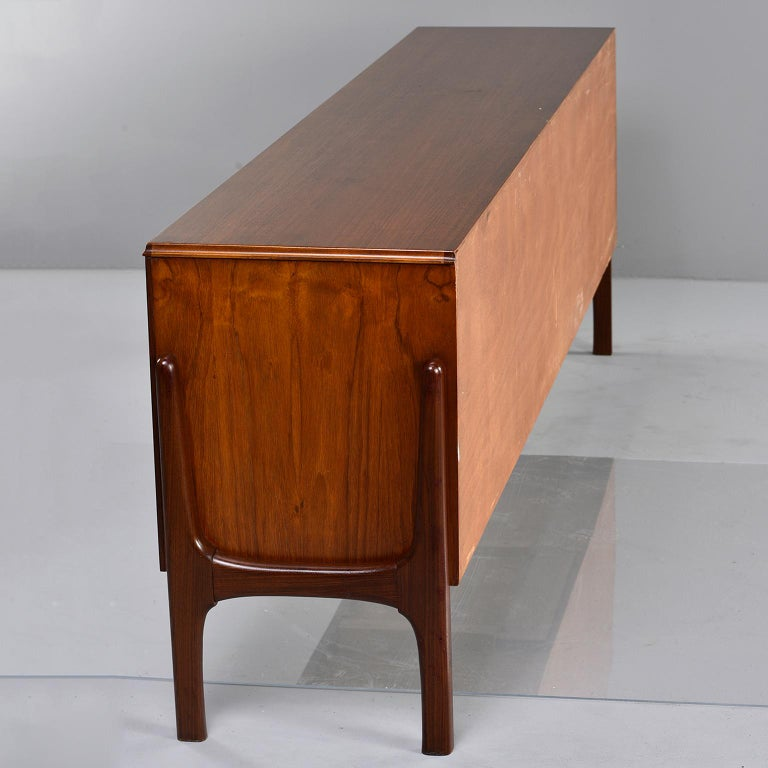 Italian Midcentury Sideboard With Multi Woods and Sliding Doors For Sale 13