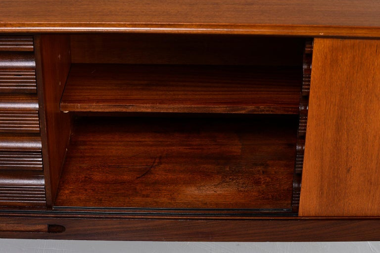 Italian Midcentury Sideboard With Multi Woods and Sliding Doors For Sale 1
