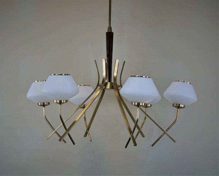 Italian Midcentury Six-Light Chandelier For Sale 4