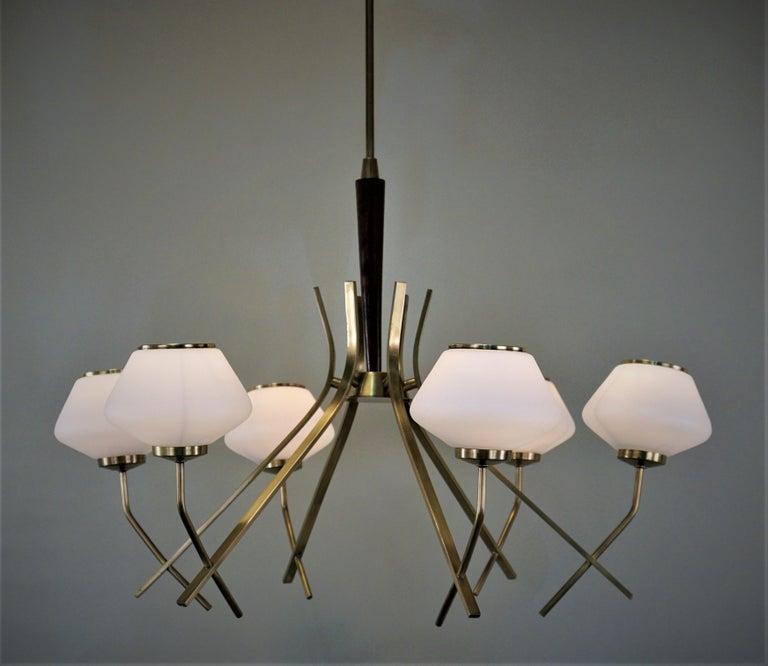 Elegant six opal glass shades, bronze and wood frame chandelier.