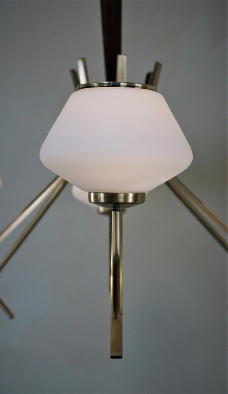 Bronze Italian Midcentury Six-Light Chandelier For Sale