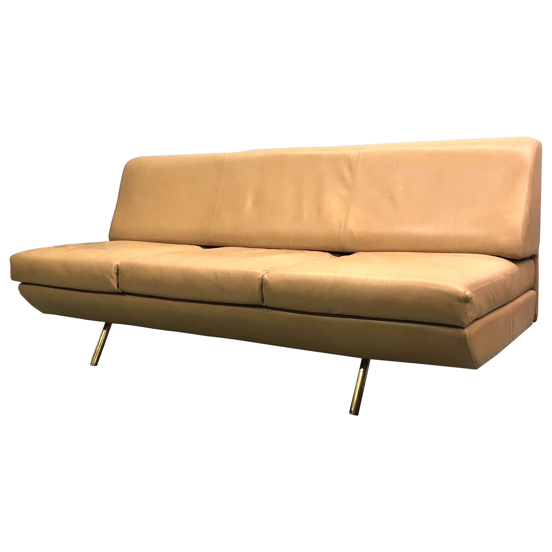 "Italian Midcentury 'Sleep-o-Matic"" Leather Sofa / Couch, Marco Zanuso & Arflex"