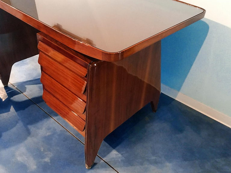 Italian Midcentury Small Walnut Writing Desk by Vittorio Dassi, 1950s For Sale 5