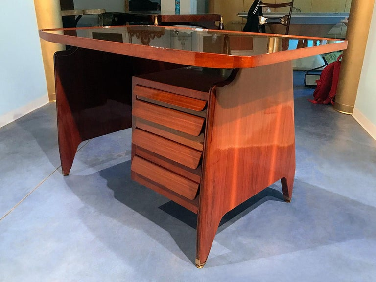 Italian Midcentury Small Walnut Writing Desk by Vittorio Dassi, 1950s For Sale 6