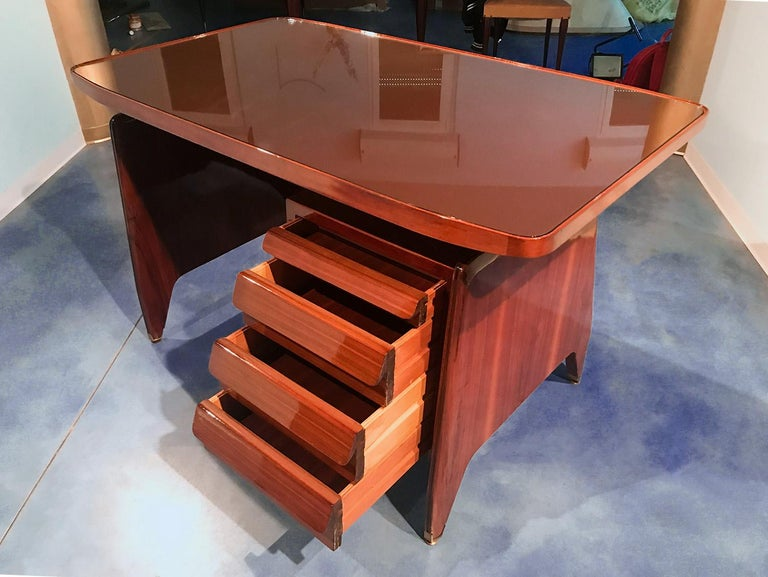 Italian Midcentury Small Walnut Writing Desk by Vittorio Dassi, 1950s For Sale 7