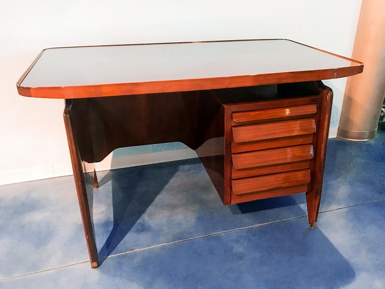 Italian Midcentury Small Walnut Writing Desk by Vittorio Dassi, 1950s For Sale 10