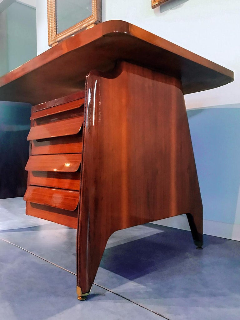 Mid-Century Modern Italian Midcentury Small Walnut Writing Desk by Vittorio Dassi, 1950s For Sale