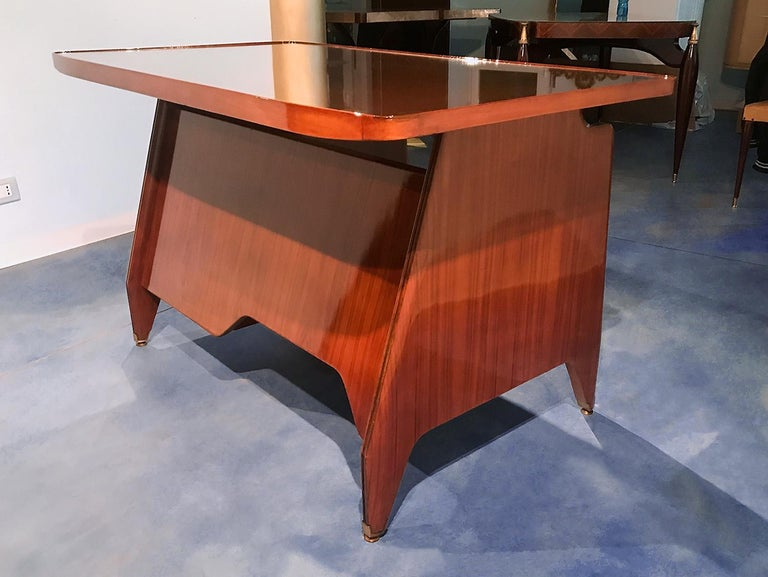 Italian Midcentury Small Walnut Writing Desk by Vittorio Dassi, 1950s For Sale 2