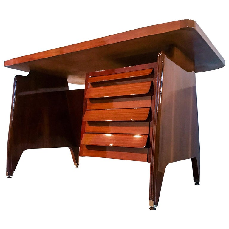 Italian Midcentury Small Walnut Writing Desk by Vittorio Dassi, 1950s For Sale