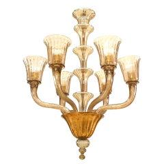 Italian Mid-Century Smoked Amber Glass Chandeliers