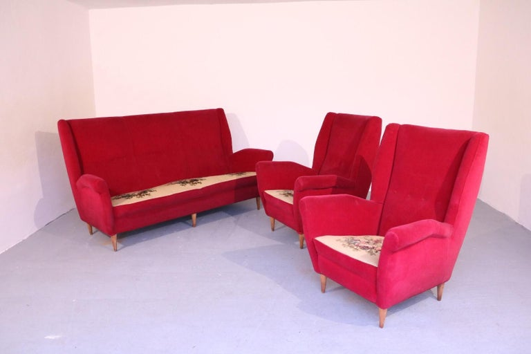 Mid-Century Modern Italian Midcentury Sofa and Pair of Lounge Chairs by Gio Ponti for ISA, 1955 For Sale
