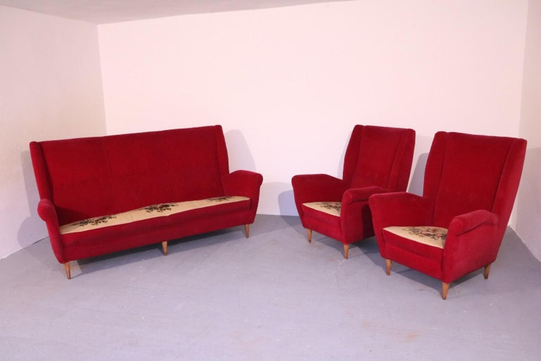 20th Century Italian Midcentury Sofa and Pair of Lounge Chairs by Gio Ponti for ISA, 1955 For Sale