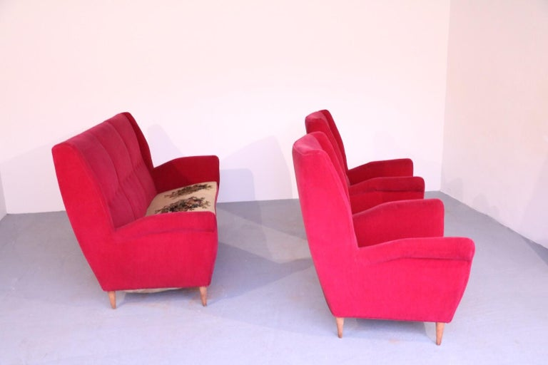 Upholstery Italian Midcentury Sofa and Pair of Lounge Chairs by Gio Ponti for ISA, 1955 For Sale
