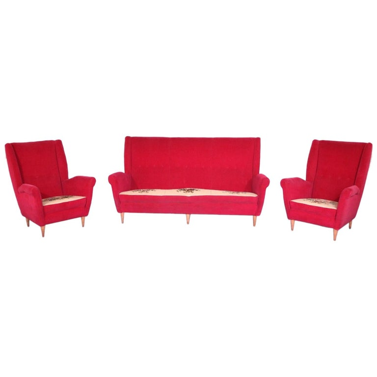Italian Midcentury Sofa and Pair of Lounge Chairs by Gio Ponti for ISA, 1955 For Sale