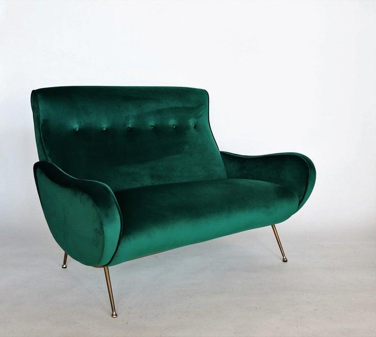 Italian Mid Century Sofa Or Loveseat In Green Velvet And