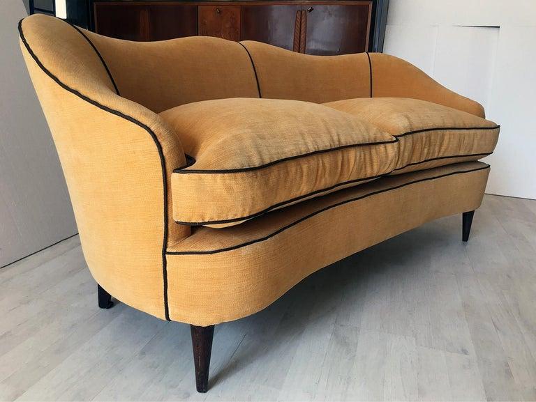 Italian Mid-Century Sofa Two-Seat in Yellow Velvet, 1950s 12