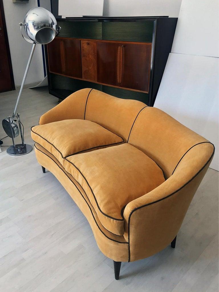 Italian Mid-Century Sofa Two-Seat in Yellow Velvet, 1950s 13
