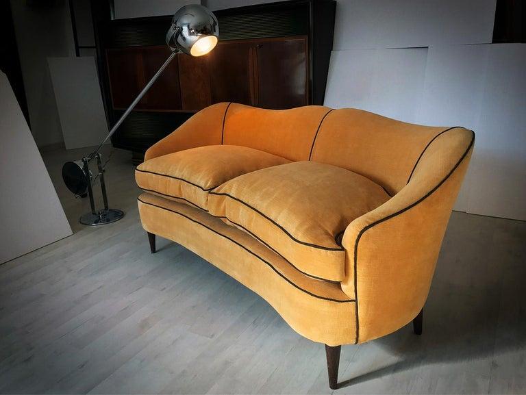 Italian Mid-Century Sofa Two-Seat in Yellow Velvet, 1950s 14