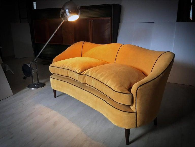 Italian Mid-Century Sofa Two-Seat in Yellow Velvet, 1950s 15