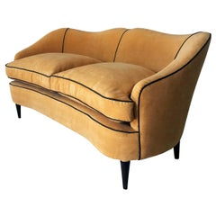 Italian Mid-Century Sofa Two-Seat in Yellow Velvet, 1950s