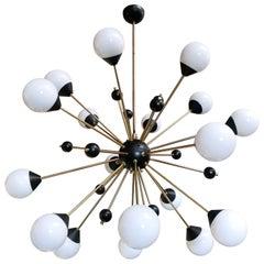Italian Mid-Century Sputnik Chandelier w/ Murano Glass Globes, Italy, 1960s