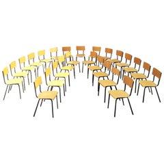 Italian Midcentury Stackable Beech and Metal School Chairs, 1960s