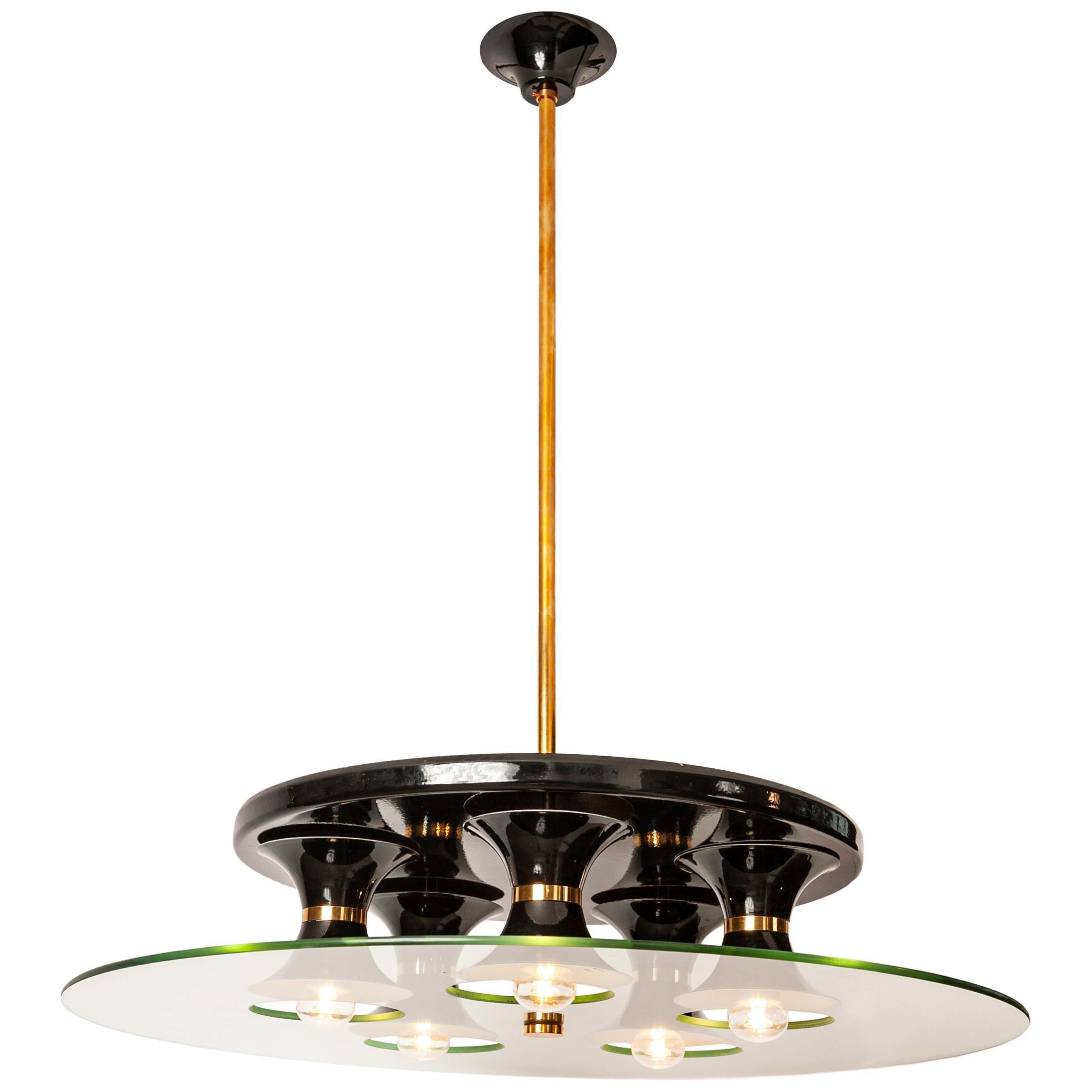 Italian Mid-Century Stilnovo Ceiling Lamp Brass, Black and White