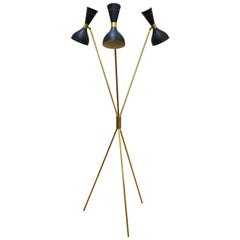 Italian Midcentury Stilnovo Style Tripod Floor Lamp