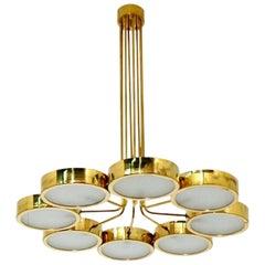 Italian Midcentury Style Brass Chandelier in the Manner of Bruno Gatta