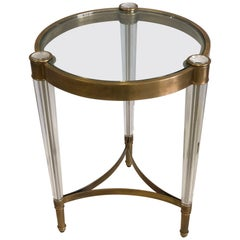 Midcentury Style Solid Brass & Crystal Side Tables, Attributed to Baccarat
