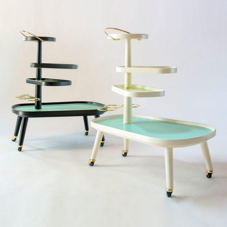 Ebonized Italian Midcentury Style Wheeled Trolley, Bar Serving Cart, Tiered Stand For Sale