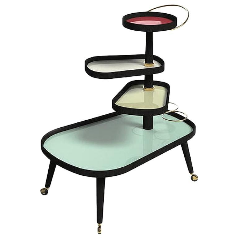 Italian Midcentury Style Wheeled Trolley, Bar Serving Cart, Tiered Stand For Sale