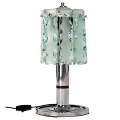 Italian Midcentury Table Lamp Nickeled Metal Base with Green Glass Blades