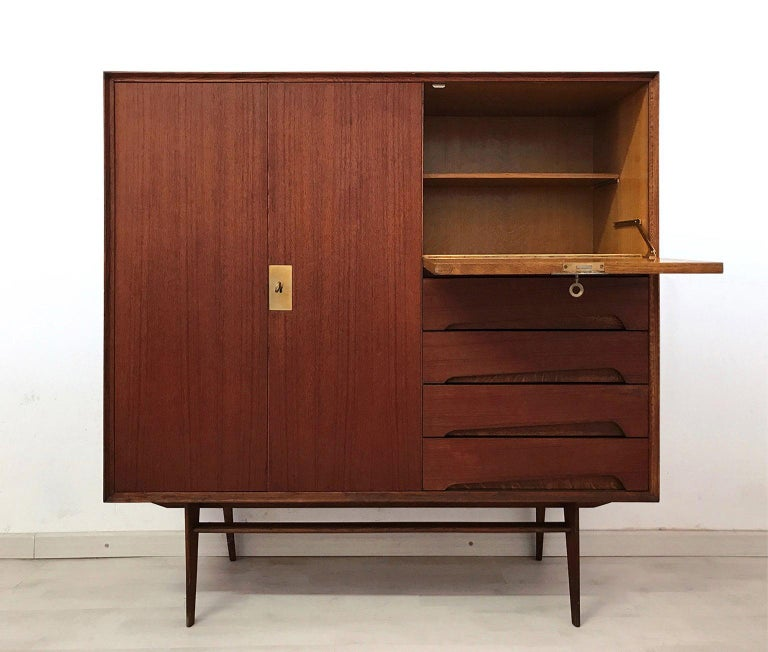 Mid-Century Modern Italian Mid-Century Teak Wood Sideboard with Secretaire by Vittorio Dassi, 1950s For Sale
