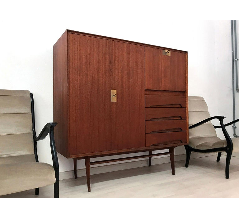 Mid-20th Century Italian Mid-Century Teak Wood Sideboard with Secretaire by Vittorio Dassi, 1950s For Sale