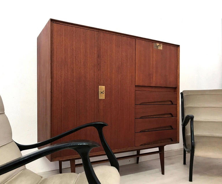 Brass Italian Mid-Century Teak Wood Sideboard with Secretaire by Vittorio Dassi, 1950s For Sale