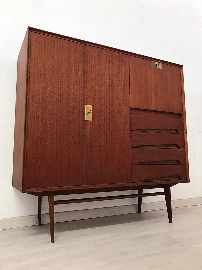 Italian Mid-Century Teak Wood Sideboard with Secretaire by Vittorio Dassi, 1950s For Sale 1