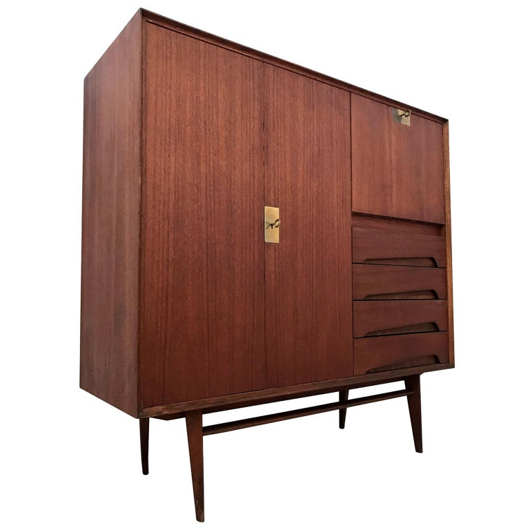 Italian Mid-Century Teak Wood Sideboard with Secretaire by Vittorio Dassi, 1950s For Sale