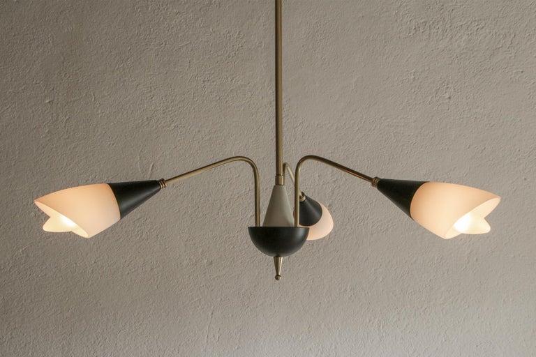 Italian Mid-Century Chandelier Pendant Lamp Attributed to Stilnovo, 1960s For Sale 3