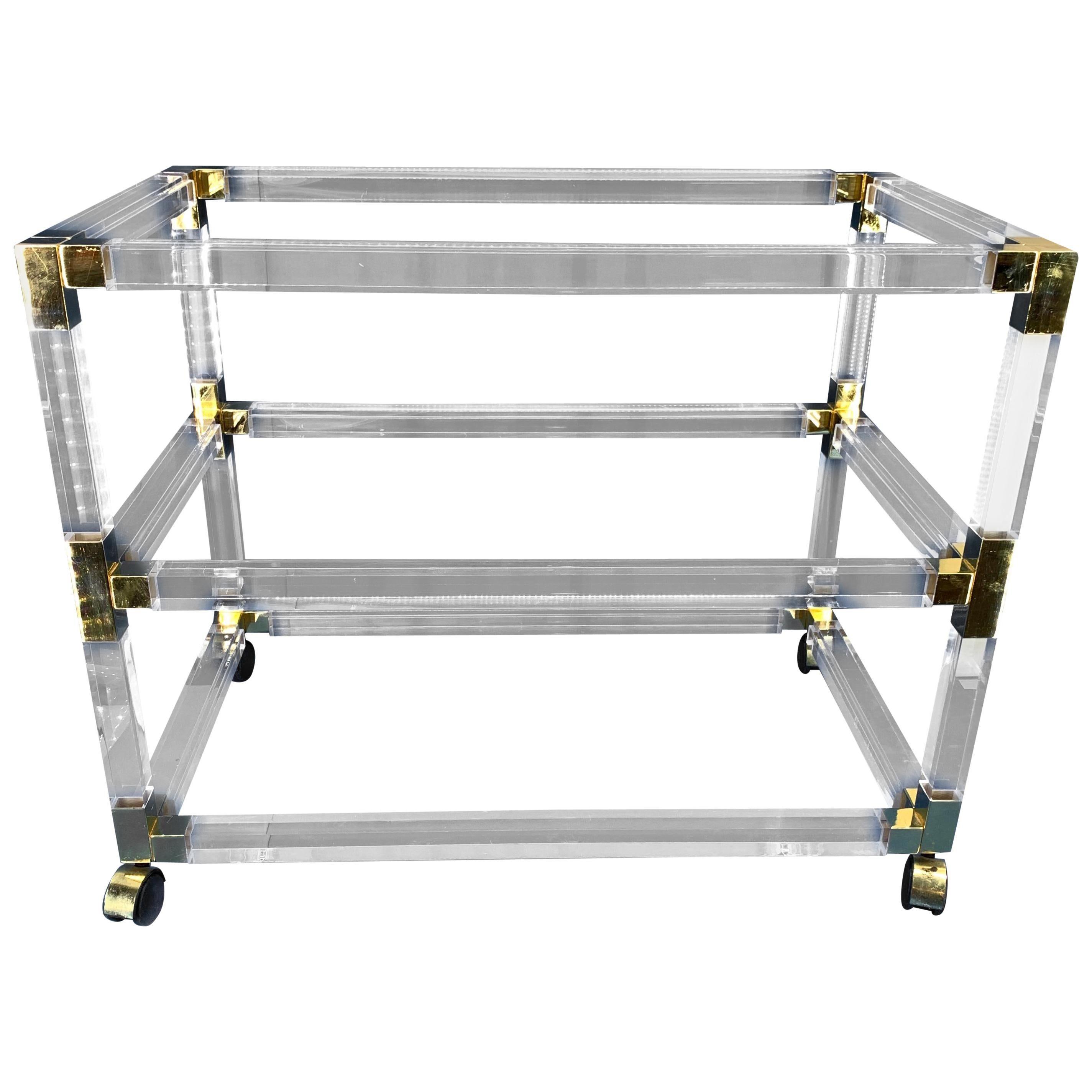 French Mid-Century Three-Tier Bar Cart Trolley In Lucite And Brass