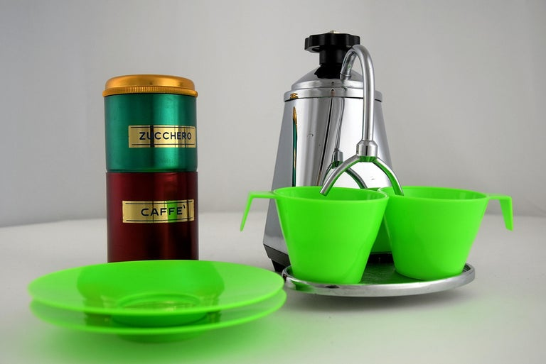 Mid-Century Modern Italian Mid-century Travel Espresso Set in Mint Condition For Sale