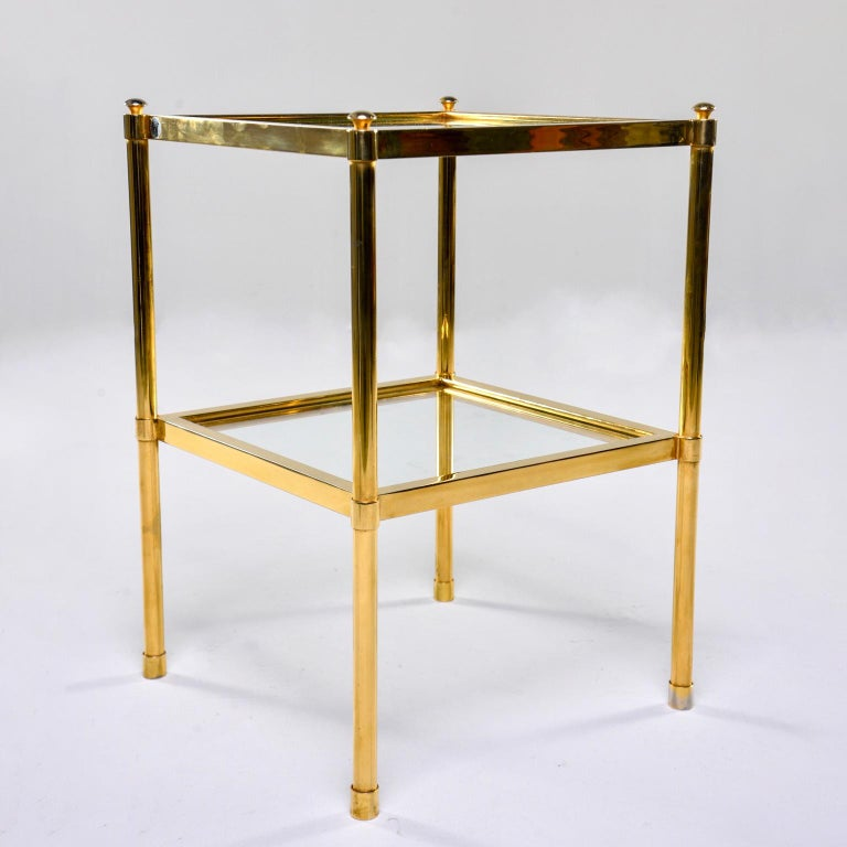 Mid-Century Modern Italian Midcentury Two-Tier Brass and Glass Side Table For Sale