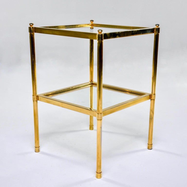 Italian Midcentury Two-Tier Brass and Glass Side Table In Good Condition For Sale In Troy, MI