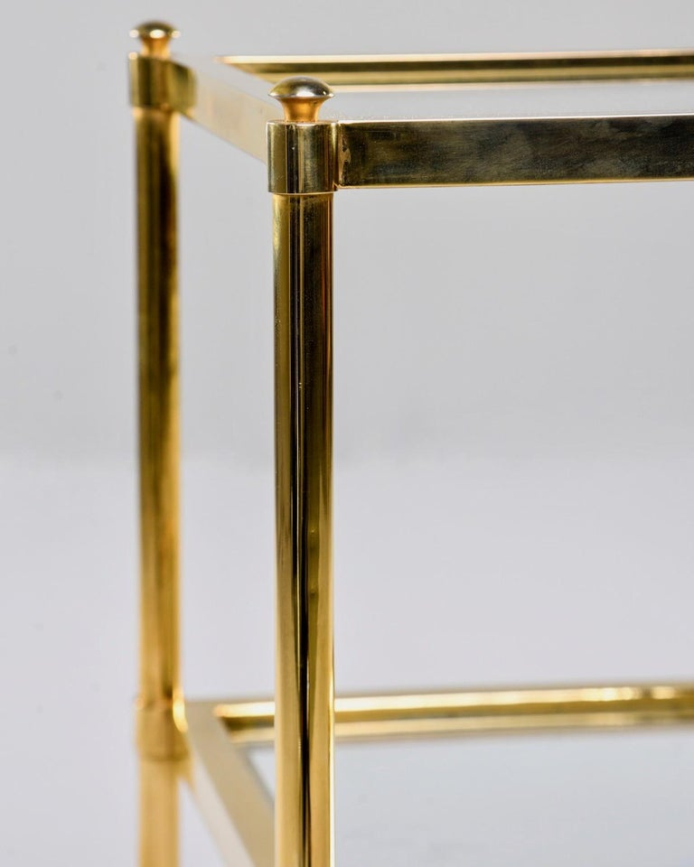 20th Century Italian Midcentury Two-Tier Brass and Glass Side Table For Sale