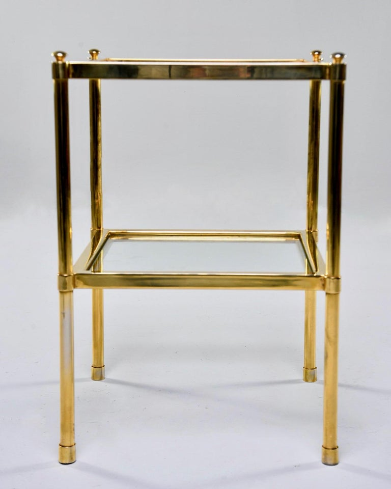 Italian Midcentury Two-Tier Brass and Glass Side Table For Sale 1